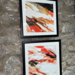 celia davies print ink orange abstract I & II